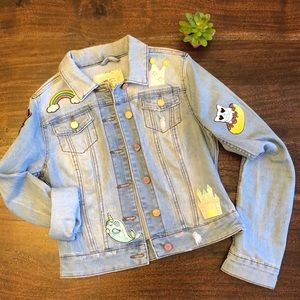 Light Wash Jean Jacket with Fun Patches Size Small